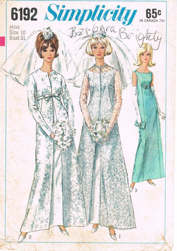 Simplicity 6192 - Vintage 1960s Sewing Pattern - Misses' Coat And Wedding Dress Or Evening Gown