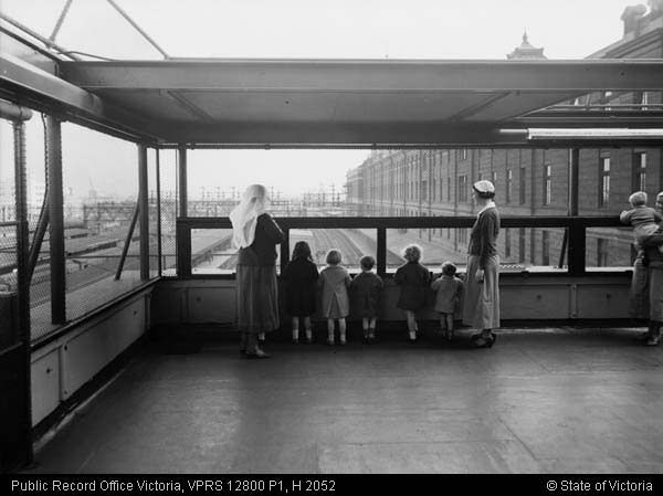 The railway children: In 1935, young mothers from the suburbs were encouraged to leave their children in the care of railways' staff while they shopped in the city. Many took advantage of this early form of crèche. A wire cage on the roof of Flinders Street was used for play activity; under supervision, children could watch the trains.