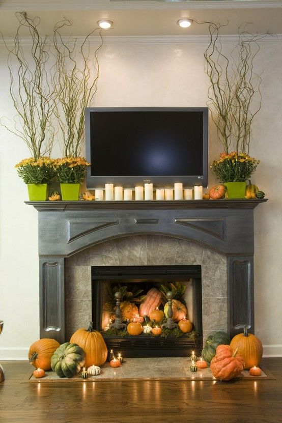 #Fall #fireplace #decor #ideas  love the #pumpkins and #candles