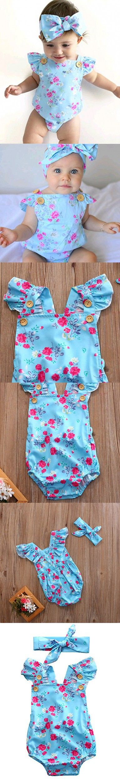 Baby Girls' Full Flower Print Buttons Ruffles Romper Bodysuit with Headband (90(12-18M), Blue(with headband))