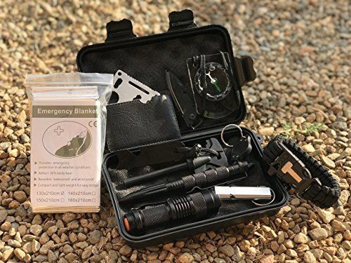 Emergency Survival Kit 13 in 1, Preparedness kits Survival Gear for Camping, Zombie Apocalypse, Earthquake, Disaster - Compact Outdoor Tactical Tools for Traveling, Hiking and Hunting. For product & price info go to:  https://all4hiking.com/products/emergency-survival-kit-13-in-1-preparedness-kits-survival-gear-for-camping-zombie-apocalypse-earthquake-disaster-compact-outdoor-tactical-tools-for-traveling-hiking-and-hunting/