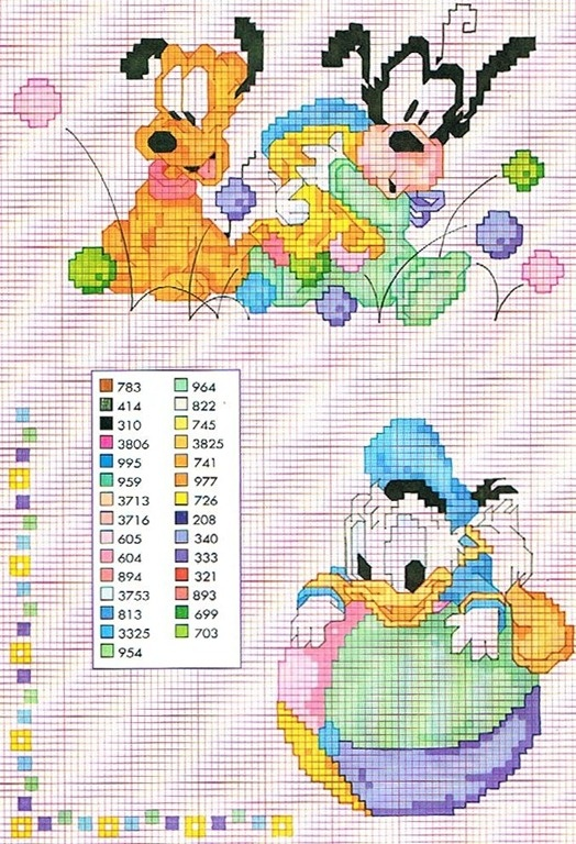 Disney babies (Pluto, Goofy, and Donald Duck) cross stitch w/color guide....these are absolutely adorable!!!