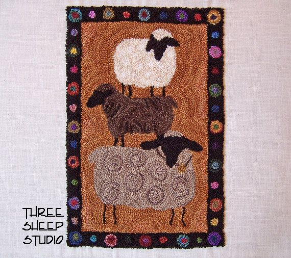 Punch Needle Pattern Farm Show Sheep PN509 by ThreeSheepStudio