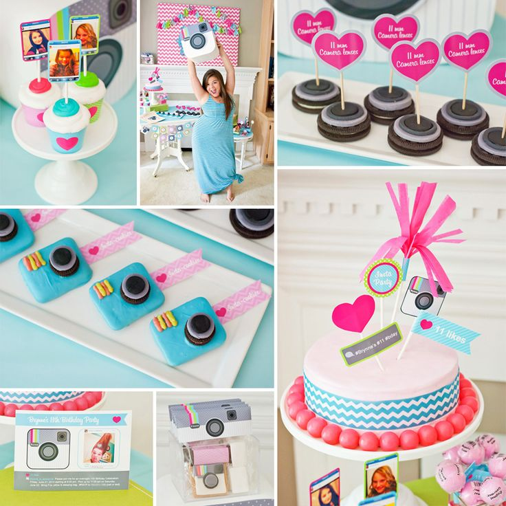 Tweens, teens... and even us grown ups at Hostess  this Cute & Clever Instagram Birthday Party with girly and chevron details by Adria Ruff of @Anders Ruff Custom Designs  ! http://hwtm.me/11YBq6G ‪#‎Instagram‬