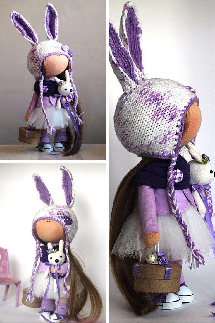 Rabbit doll Fabric doll Summer doll handmade by AnnKirillartPlace