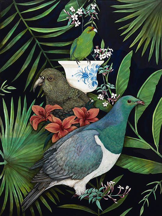 Kakariki's Vase by Kathryn Furniss. Art-prints available from www.imagevault.co.nz and stockists throughout New Zealand