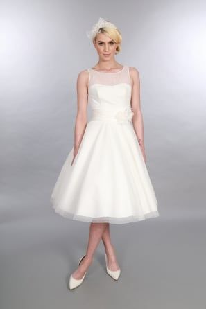 ANARA Polka Dot 1950s Tea Length Short Wedding Dress