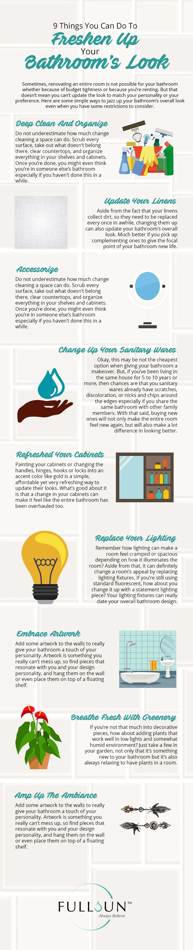 Sometimes, renovating an entire room is not possible for your bathroom whether because of budget tightness or because you're renting. But that doesn't mean you can't update the look to match your personality or your preference. Here are some simple ways to jazz up your bathroom's overall look even when you have some restrictions to consider. #Sanitarywaresandfittingssingapore #Bestsanitaryfitting #Bathroomaccessories