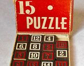 Vintage 15 Puzzle with Wooden Numbers/ Embossing Co., Albany, NY