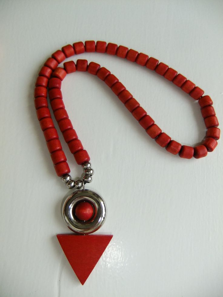 Vintage Aarikka necklace with red wooden pearls and metal decorations by AnnChristinsVintage on Etsy
