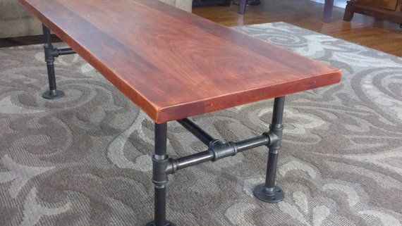 """Solid Cherry Coffee Table with Industrial Iron Pipe Legs Rustic Reclaimed Wood 48"""""""