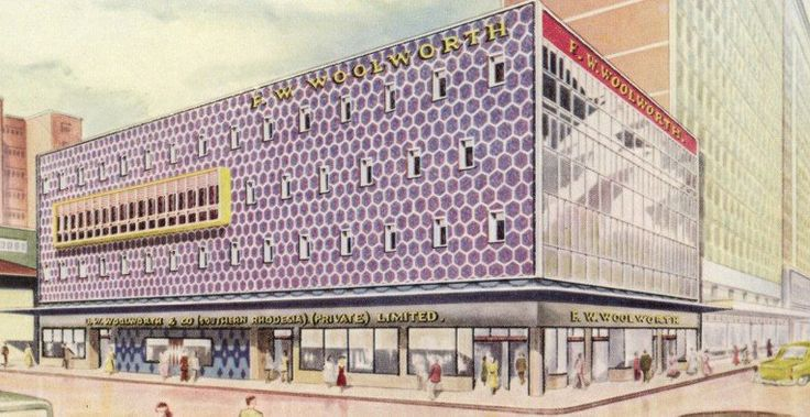 An artist's impression of a new £1m Woolworth superstore planned for Salisbury (Harare), Rhodesia (Zimbabwe) in the late 1950s