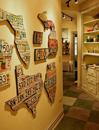 That is damn cool. Wood cut outs of states with old license plates from that state.