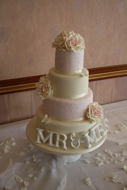 Vintage Wedding cake with Roses and MR & MRS by Cotton and Crumbs by Passion for Flowers, via Flickr