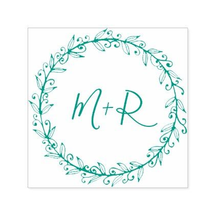Create Your Own Green Calligraphy Wedding Initials Self-inking Stamp - calligraphy gifts unique style cyo customize