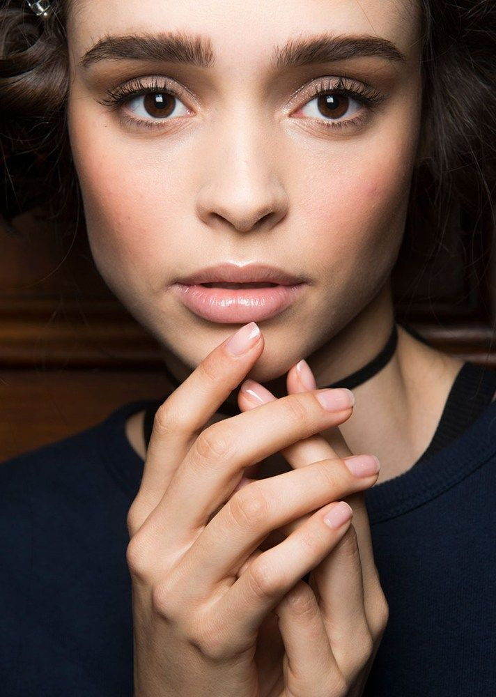 Browse the best nail art ideas from fashion month Spring 2017 at @StyleCaster | Luisa Beccaria's nude nails