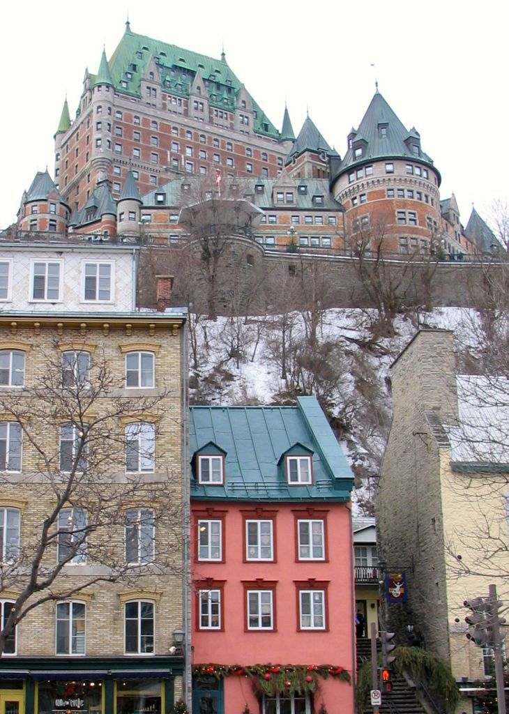Old Québec City is charming to visit any time of year. View of Château Frontenac from Quartier Petit Champlain (Lower Town)