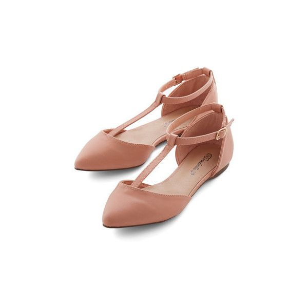 ModCloth Pastel The Time is Ripe Flat (66 BRL) ❤ liked on Polyvore featuring shoes, flats, ballet flat, flat, tan, flat pumps, pointed-toe flats, vegan ballet flats, ballet shoes and tan flats