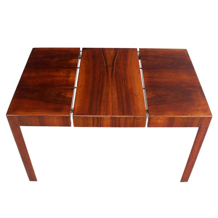 Oiled Walnut Square Italian Mid Century Modern Game Small Dining Table with One Leaf | From a unique collection of antique and modern game tables at http://www.1stdibs.com/furniture/tables/game-tables/