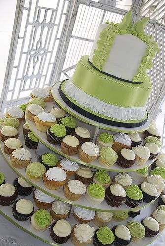 Different colors and design, but love the idea of both cupcakes and a small cake.