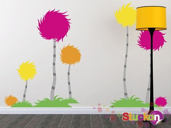 Children Wall Decals Wall Sticker  Trees by StuckonWallstickers, $130.00. Would love a Dr. Suess theme for the kids.