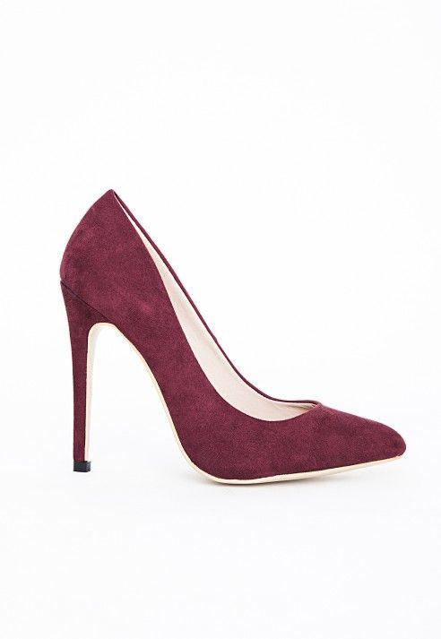 Escarpins pointus en suédine Isabel bordeaux - Chaussures - Talons hauts - Missguided