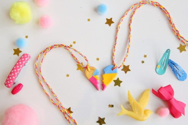 BFF clay necklaces by little button diaries #craft #clay #kids