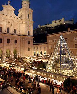 The Christmas Market in Salzburg, Austria, featuring one of the world's largest Advent calendars.