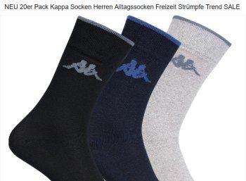"""Kappa: Socken im 20er-Pack für 17,99 Euro frei Haus via Ebay https://www.discountfan.de/artikel/klamotten_&_schuhe/kappa-socken-im-20er-pack-fuer-1799-euro-frei-haus-via-ebay.php Wer ganz von den Socken ist, kann sich nun bei Ebay neue zum Schnäppchenpreis bestellen: 20 Paar Kappa-Socken gibt es als """"Wow! des Tages"""" für 17,99 Euro frei Haus. Kappa: Socken im 20er-Pack für 17,99 Euro frei Haus via Ebay (Bild: Ebay.de) Das 20er-Pack Kappa-Socken für 17,99 Eur"""