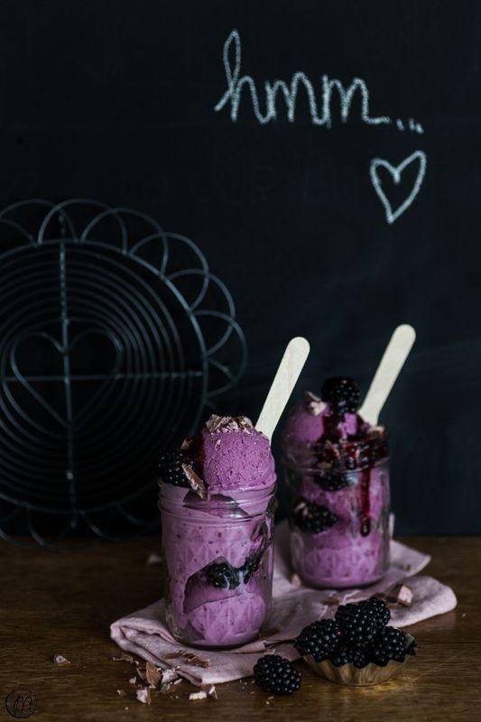 Brombeer-Frozen Joghurt | Rezept | Joghurt, Frozen joghurt ...