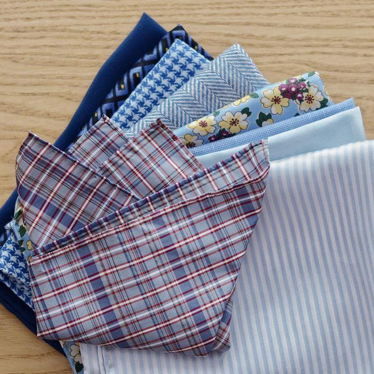 #blue #pocketsquares #plaid #silk #cotton #linen #floral   #dapper #suit #menstyle #styleadvice