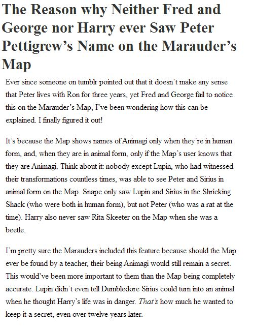 Why Peter Pettigrew's name didn't appear on the Marauder's Map