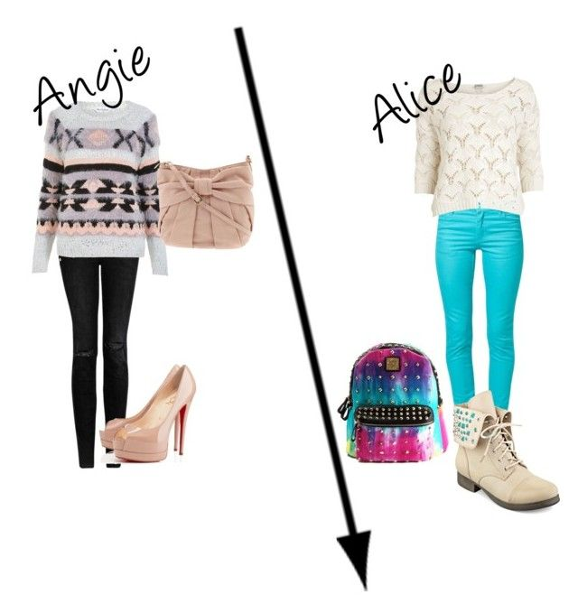 """""""Tenue pour Alice et Angie"""" by violetta2-billy-bibi-abi ❤ liked on Polyvore featuring MANGO, Miss Selfridge, RED Valentino, Christian Louboutin, Cheap Monday, Object Collectors Item and Pink & Pepper"""