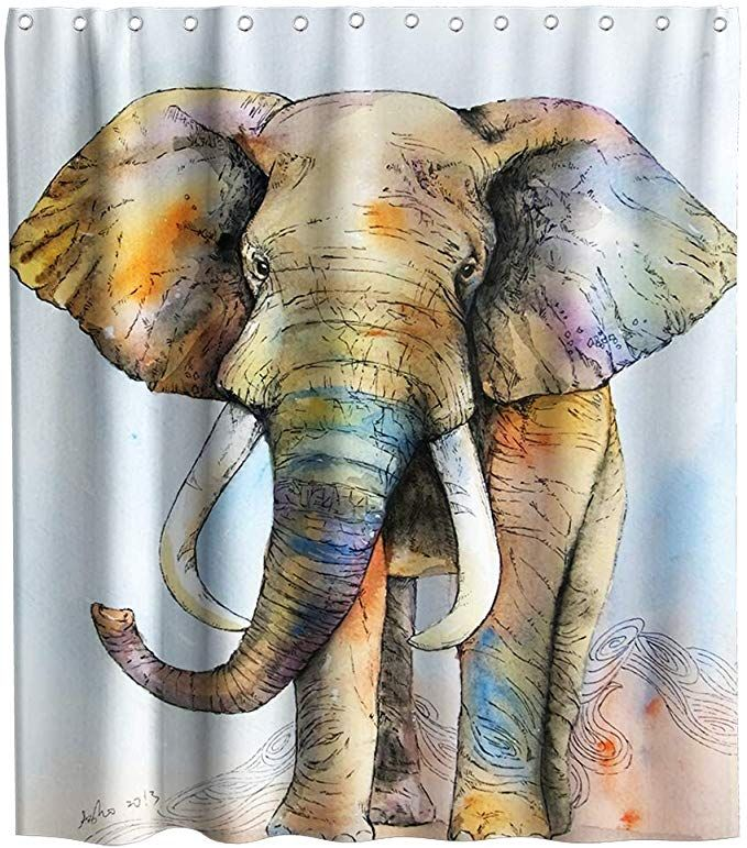 Amazon Com Final Friday Elephant Shower Curtain Cute Grey African
