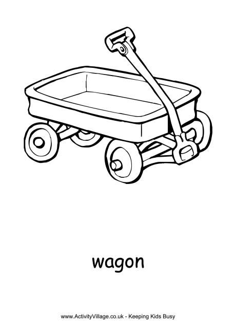Wagon Colouring Page Red Wagon Little Red Wagon