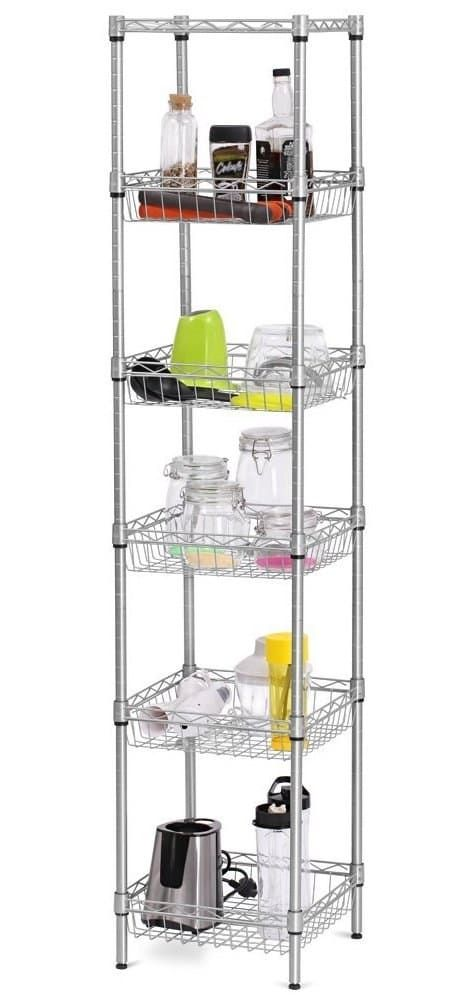 """Promising review: """"Really like this shelf. Fits perfectly in the spot I bought it for. I did not do the shelves the same as the instructions. The lowest shelf is higher off the floor so I can slide a small cooler underneath the shelf, then the other shelves are spaced according to the size of the things I intended to put in them. Had help, and it took a little longer put together because of the time taken to decide on the spacing I wanted – but I am happy with the way we did it."""" –Loves…"""