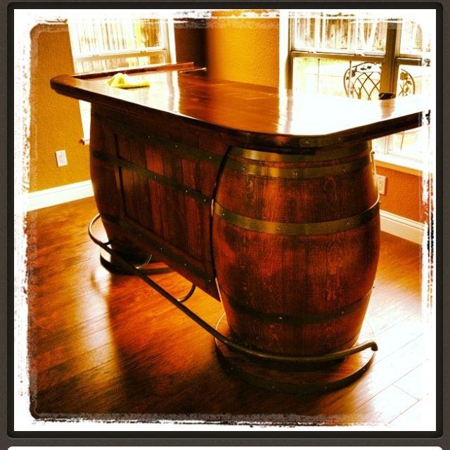 Wine barrel saloon bar for game room