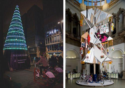 A #Copenaghen, nel 2009 venne allestito un particolare albero di Natale nella piazza del municipio. La sua #illuminazione veniva alimentata da particolari #biciclette posizionate alla base dell'albero e dei volenterosi passanti pedalarono felicemente per regalare alla città lo spettacolo delle luci natalizie   #Educare alle #energie alternative su @marraiafura