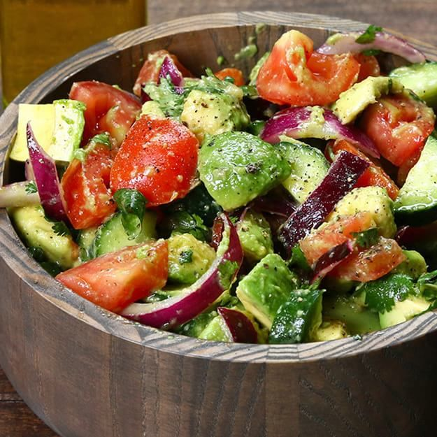 Enjoy This Healthy Cucumber, Tomato, And Avocado Salad