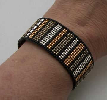 Dramatic Loomed Gold and Silver Bracelet by AdoraDesigns for $55.00