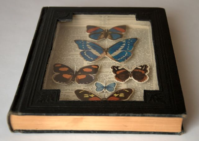 Use old book as shadow box or picture frame. Dishfunctional Designs: Bookish: Upcycled & Repurposed Books and Pages