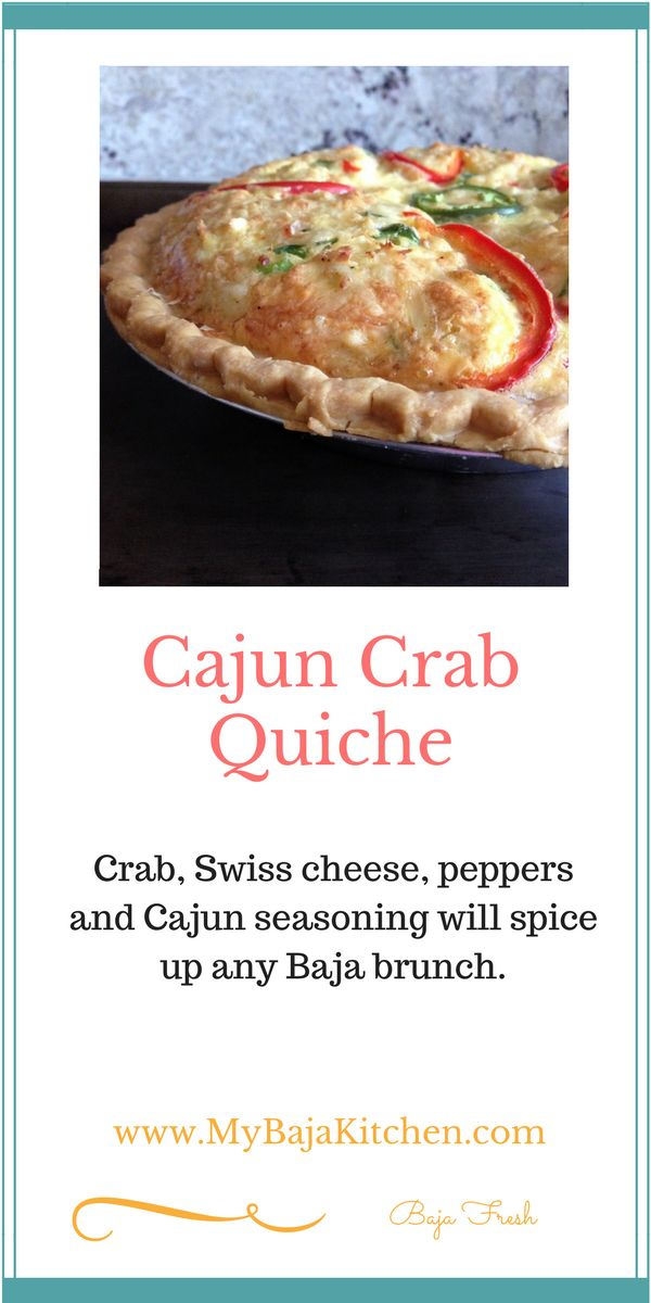 #Quiche, loaded with cajun crab and swiss cheese. #brunch recipe, #seafood quiche
