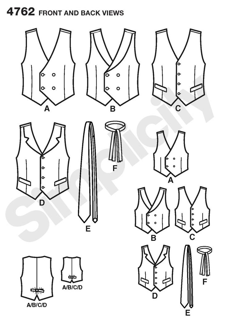 Boys and Mens Vests and Ties sewing pattern 4762 Simplicity