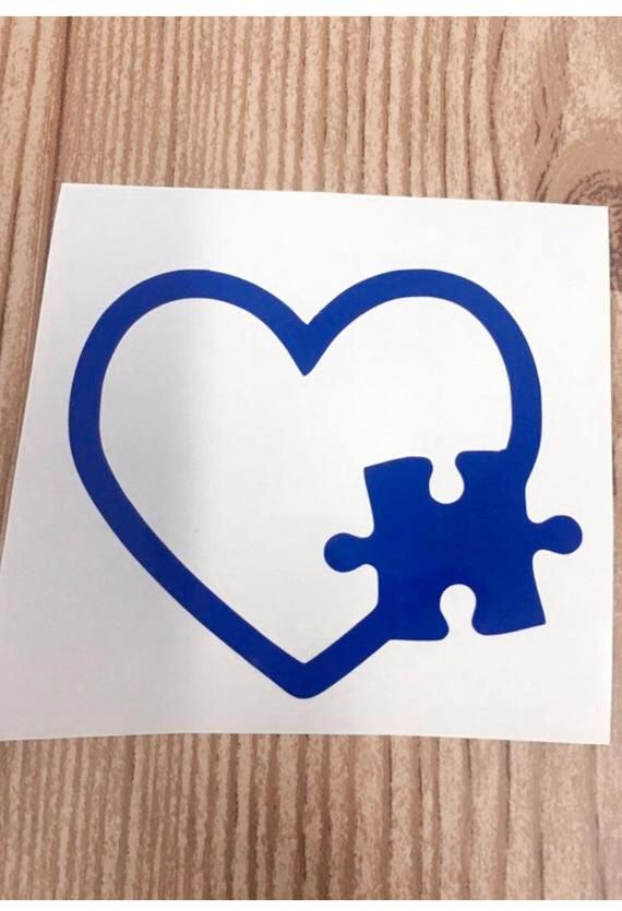 4 inch Autism Puzzle Piece Heart Decal Window Love Sticker Car Awareness Support