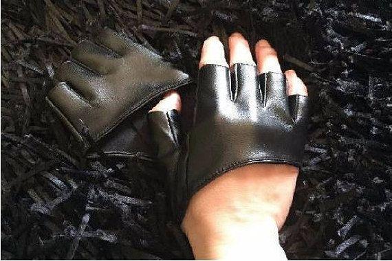 Women fingerless faux leather gloves half finger PU leather
