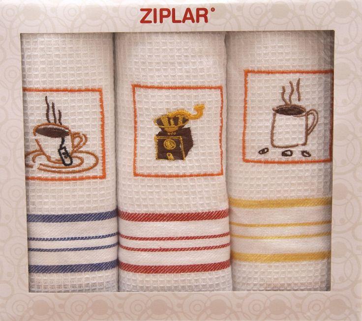 Bawełniany komplet ścierek białych do kuchni z motywem kawy