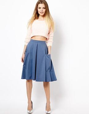 Image 1 ofASOS Midi Skirt in Ponte with Pocket Detail