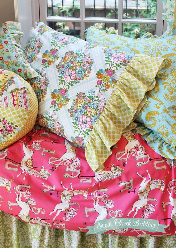 NEW TWIN Size 3pc Basics Set of Carousel Girls Bedding - Basics Set includes: Duvet, Bed Skirt and 1 Pillowcase on Etsy, $489.00