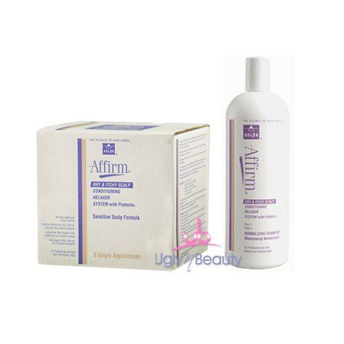 Affirm SET (w/Shower Cap) Dry & Itchy Sensitive Scalp Relaxer 9 App + Dry & Itchy Normalizing Shampoo 950ml by Affirm. $74.90. Affirm Dry & Itchy Sensitive Scalp Relaxer 9 App. Affirm Dry & Itchy Sensitive Scalp Normalizing Shampoo 950ml. Designed to reduce dry & itchy scalp conditions. Affirm Dry & Itchy Scalp Conditioning Relaxer System w/Protecto Sensitive Scalp Formula provides maximum scalp comfort. Soothes, moisturizes and controls dry and itchy scalp conditions. Lea...