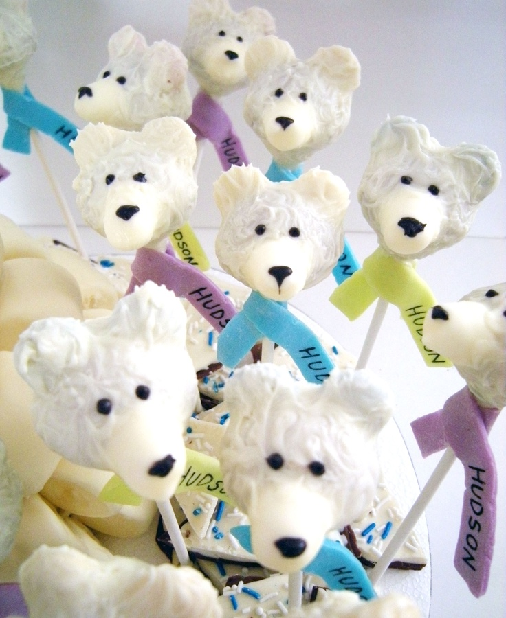 """Hudson"" the Polar Bear cake-pops!   This little guy was the inspiration for the event: http://www.assiniboineparkzoo.ca/attractions/exhibits-info.php?entry_id=18034      https://www.facebook.com/SweetBoutiqueWinnipeg"